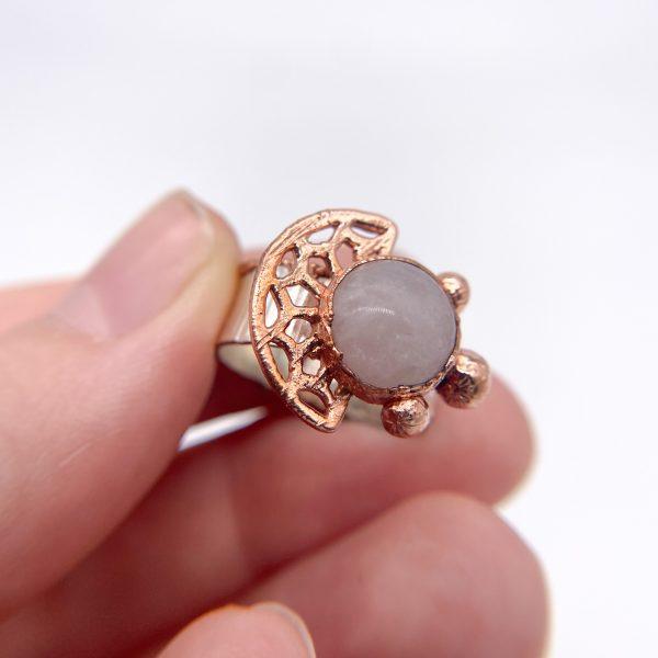 rose quartz electroformed ring